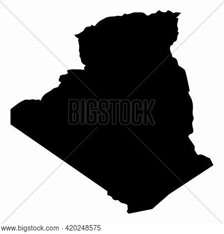 Algeria Dark Silhouette Map Isolated On White Background