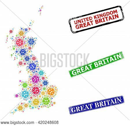 Vector Contagious Mosaic Great Britain Map, And Grunge Great Britain Seals. Vector Colorful Great Br