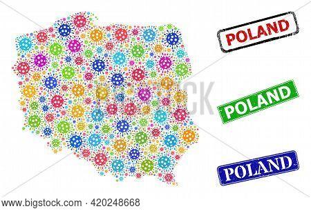 Vector Virus Mosaic Poland Map, And Grunge Poland Stamps. Vector Multi-colored Poland Map Mosaic, An