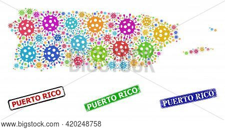 Vector Infection Collage Puerto Rico Map, And Grunge Puerto Rico Stamps. Vector Colored Puerto Rico