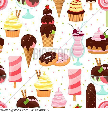 Colorful Vector Ice Cream And Sweets Seamless Background Pattern With Ice Cream Cones  Sundae And Pa