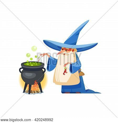 Wizard. Mysterious Male Magician In Robe Spelling Oldster Merlin Vector Cartoon Characters. Sorcerer