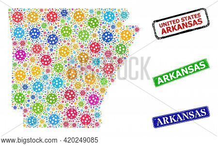 Vector Contagious Collage Arkansas State Map, And Grunge Arkansas Seals. Vector Multi-colored Arkans