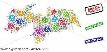 Vector Bacterium Mosaic Paraiba State Map, And Grunge Brazilian Seals. Vector Multi-colored Paraiba