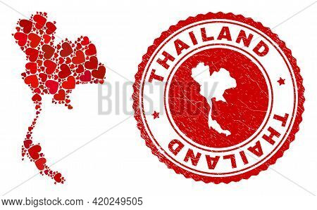 Collage Thailand Map Designed With Red Love Hearts, And Unclean Seal. Vector Lovely Round Red Rubber