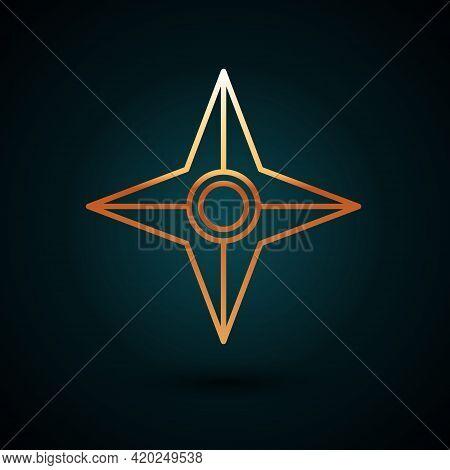 Gold Line Japanese Ninja Shuriken Icon Isolated On Dark Blue Background. Vector
