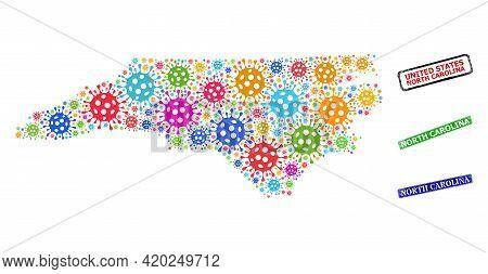 Vector Contagious Mosaic North Carolina State Map, And Grunge North Carolina Seals. Vector Multi-col