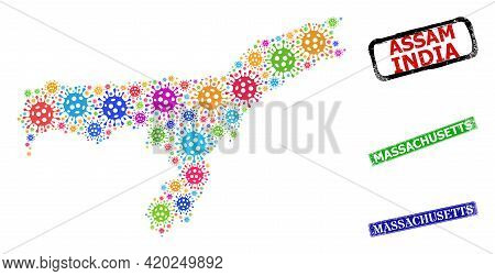 Vector Virus Collage Assam State Map, And Grunge Massachusetts Seals. Vector Multi-colored Assam Sta