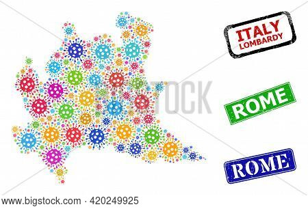 Vector Virulent Mosaic Lombardy Region Map, And Grunge Rome Seals. Vector Colored Lombardy Region Ma