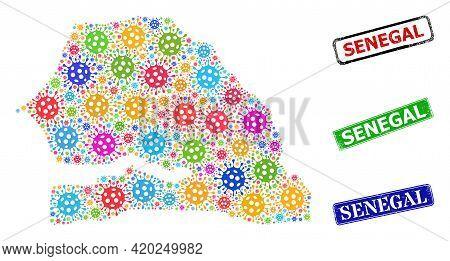 Vector Contagious Mosaic Senegal Map, And Grunge Senegal Seal Stamps. Vector Multi-colored Senegal M