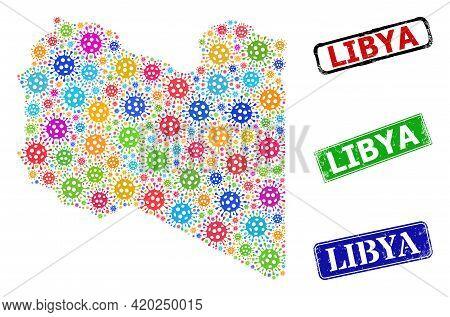 Vector Viral Mosaic Libya Map, And Grunge Libya Seal Stamps. Vector Colored Libya Map Mosaic, And Li
