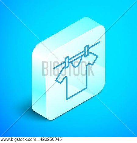 Isometric Line Drying Clothes Icon Isolated On Blue Background. Clean Shirt. Wash Clothes On A Rope