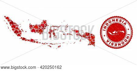 Mosaic Indonesia Map Created With Red Love Hearts, And Rubber Seal Stamp. Vector Lovely Round Red Ru