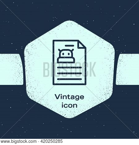 Grunge Line Technical Specification Icon Isolated On Blue Background. Technical Support Check List,