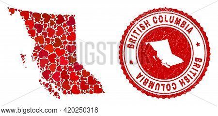 Mosaic British Columbia Map Created With Red Love Hearts, And Dirty Seal Stamp. Vector Lovely Round