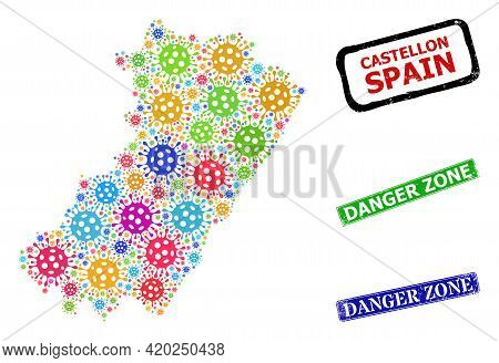 Vector Bacilla Collage Castellon Province Map, And Grunge Danger Zone Seal Stamps. Vector Multi-colo