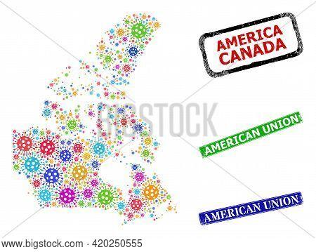 Vector Coronavirus Mosaic Canada V2 Map, And Grunge American Union Seals. Vector Colored Canada V2 M