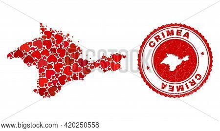 Mosaic Crimea Map Designed With Red Love Hearts, And Rubber Seal. Vector Lovely Round Red Rubber Sta