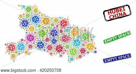 Vector Coronavirus Mosaic Hubei Province Map, And Grunge Empty Space Seals. Vector Colored Hubei Pro