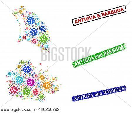 Vector Contagious Collage Antigua And Barbuda Map, And Grunge Antigua And Barbuda Stamps. Vector Mul