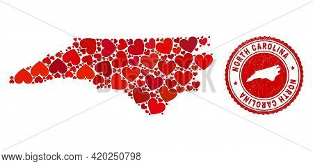 Collage North Carolina State Map Composed With Red Love Hearts, And Rubber Seal. Vector Lovely Round