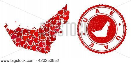 Mosaic United Arab Emirates Map Created From Red Love Hearts, And Scratched Seal Stamp. Vector Lovel