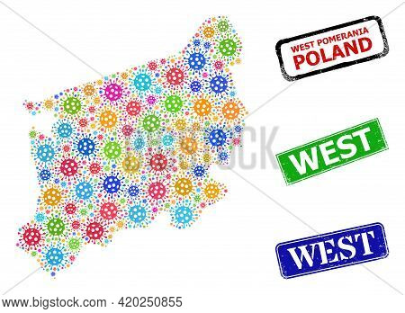 Vector Covid Mosaic West Pomeranian Voivodeship Map, And Grunge West Seal Stamps. Vector Multi-color