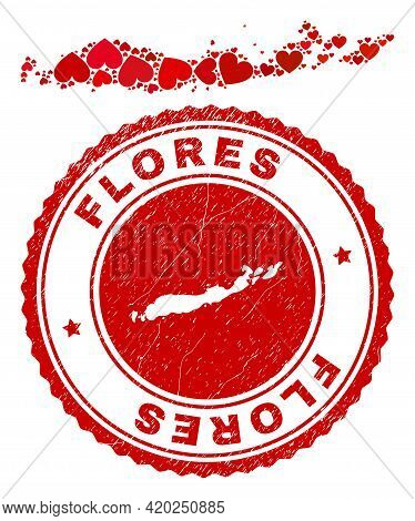 Collage Flores Islands Of Indonesia Map Formed With Red Love Hearts, And Rubber Badge. Vector Lovely