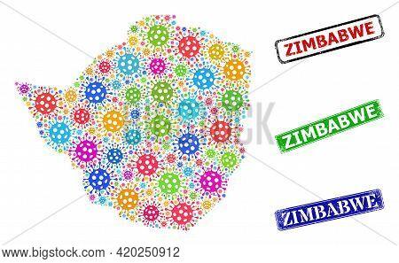 Vector Bacilla Collage Zimbabwe Map, And Grunge Zimbabwe Seals. Vector Colorful Zimbabwe Map Collage