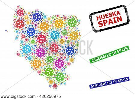 Vector Infection Mosaic Hueska Province Map, And Grunge Assembled In Spain Seal Stamps. Vector Multi