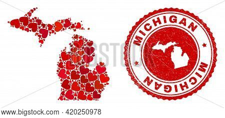 Mosaic Michigan State Map Designed With Red Love Hearts, And Rubber Stamp. Vector Lovely Round Red R