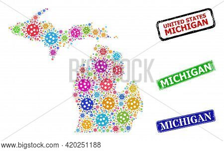 Vector Virus Collage Michigan State Map, And Grunge Michigan Seals. Vector Colorful Michigan State M