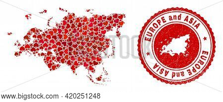 Collage Europe And Asia Map Formed With Red Love Hearts, And Rubber Stamp. Vector Lovely Round Red R