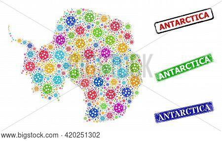 Vector Infection Collage Antarctica Continent Map, And Grunge Antarctica Seal Stamps. Vector Colorfu