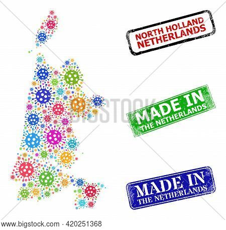 Vector Virus Mosaic North Holland Map, And Grunge Made In The Netherlands Stamps. Vector Colored Nor