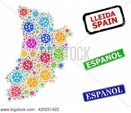 Vector Covid-2019 Mosaic Lleida Province Map, And Grunge Espanol Badges. Vector Multi-colored Lleida