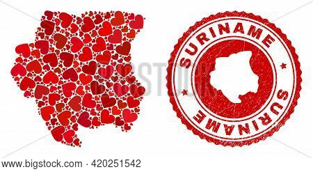 Collage Suriname Map Designed With Red Love Hearts, And Rubber Badge. Vector Lovely Round Red Rubber