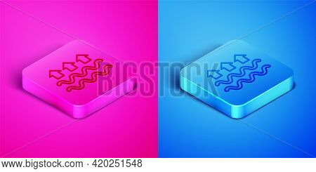 Isometric Line Waves Of Water And Evaporation Icon Isolated On Pink And Blue Background. Square Butt
