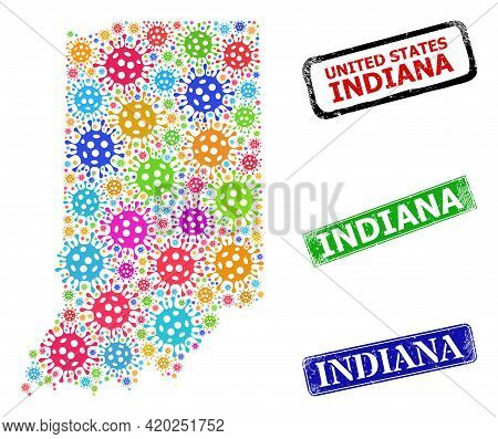 Vector Bacilla Collage Indiana State Map, And Grunge Indiana Seals. Vector Colorful Indiana State Ma