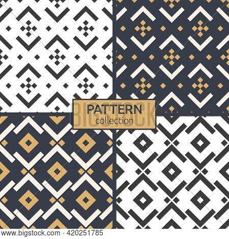 Set Of Four Seamless Patterns. Repeating Ethnic Ornaments. Geometric Stylish Background. Modern Styl