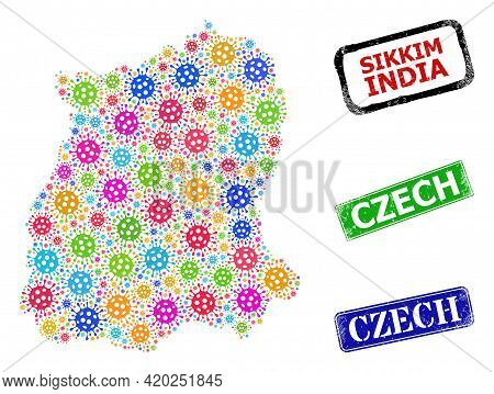 Vector Bacilla Collage Sikkim State Map, And Grunge Czech Seals. Vector Colored Sikkim State Map Col