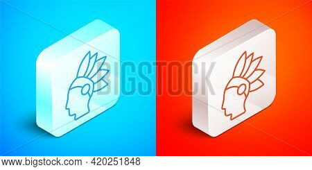 Isometric Line Native American Indian Icon Isolated On Blue And Red Background. Silver Square Button