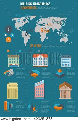 Building Infographics. Map Information, World Chart And Graphic, Infochart Industrial, Vector Illust