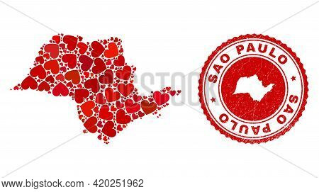 Mosaic Sao Paulo State Map Composed With Red Love Hearts, And Rubber Stamp. Vector Lovely Round Red
