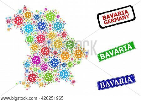 Vector Virulent Collage Bavaria Land Map, And Grunge Bavaria Stamps. Vector Colorful Bavaria Land Ma