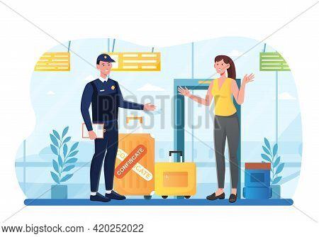 Airport Metal Detector Frame, Security Control. Detector Control Scanner Frame, Airport Security Ins