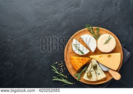 Set Or Assortment Cheeses. Suluguni With Spice, Camembert, Blue Cheese, Ricotta, Maasdam, Brie Chees