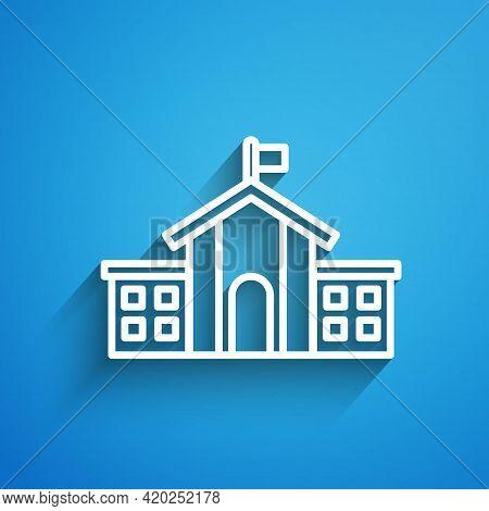 White Line United States Capitol Congress Icon Isolated On Blue Background. Washington Dc, Usa. Long