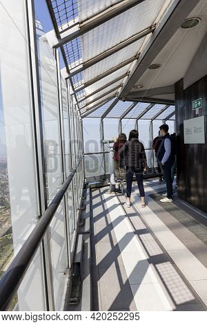 Belgrade, Serbia - April 24, 2021 : People Enjoying The View From Television Tower At Avala Mountain