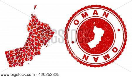 Collage Oman Map Composed With Red Love Hearts, And Dirty Badge. Vector Lovely Round Red Rubber Badg